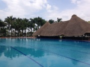 The pool and swim up bar