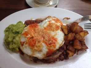 Huevos rancheros with guacamole